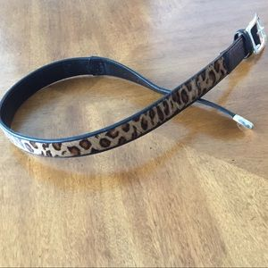 Brighton Leopard Print, Black Leather Belt